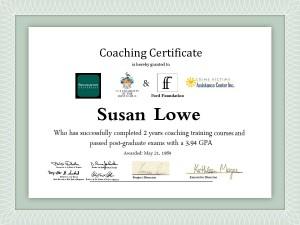 COACHING CERTIFICATE DR. SUSAN LOWE